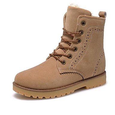 SHAOYE Mujer Zapatos Cuero Nobuck Otoño Invierno Botas de nieve Botas Botines/Hasta el Tobillo Para Casual Negro Azul Caqui , khaki , us6 / eu36 / uk4 / cn36 us6 / eu36 / uk4 / cn36|khaki