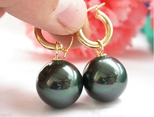 moj-81 Rare Huge 14mm Tahitian Black South Sea Shell Pearl Dangle Earrings 14KGP -