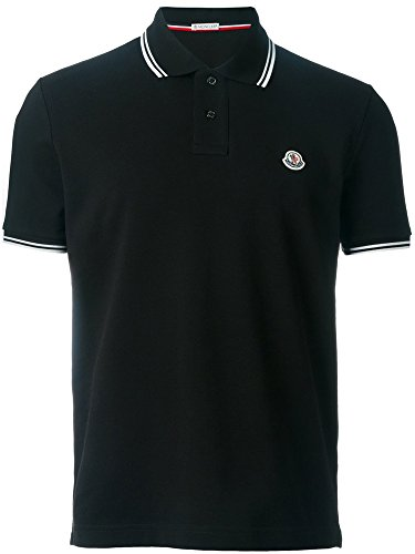 Moncler Men's Classic Tipped Piqué Polo Shirt (Black, - Black Moncler