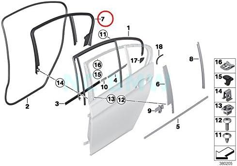 BMW Genuine Trim And Seals For Door Rear Door Weatherstrip Rear 320i 320iX 328d 328dX 328i 328iX 335i 335iX Hybrid 3 320i 320iX 328d 328dX 328i 328iX 330e 340i 340iX M3 M3