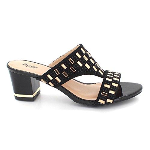 Wedding Aarz Ladies Heel Navy on Sandal Evening Casual Block AARZ Women Black Diamante Size Shoes Party LONDON Black Slip f5BwYqxC