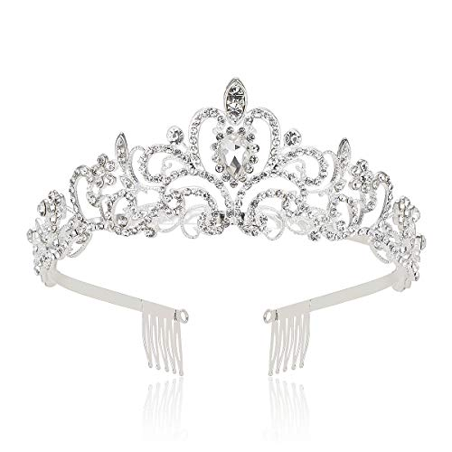Makone Crystal Crowns and Tiaras with Comb Headband for Girl or Women Birthday Party Wedding Prom -