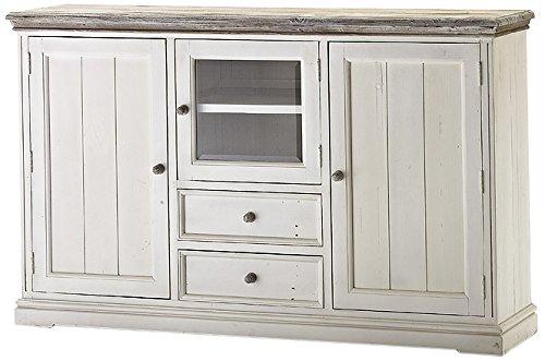 Robas Lund FW608T32 Opus Highboard, Kiefer weiß / white sanded, 3 Türen / 2 Schubkästen, circa 182 x 112 x 47 cm