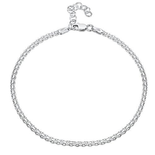 925 Fine Sterling Silver 2.2 mm Adjustable Anklet - Bismark Chain Ankle Bracelet - 9