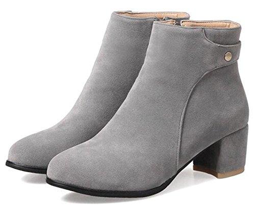 Toe Suede Medium Women's Gray Aisun Block Side Ankle Faux Trendy Booties Zipper Heel Round wpXwxC8