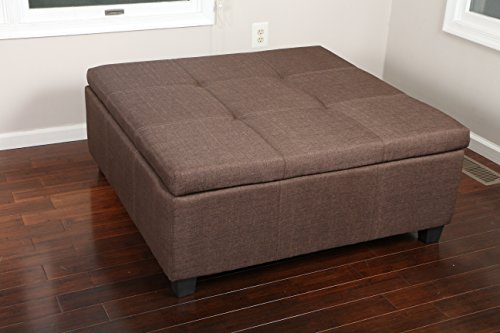 Ottoman Accent Brown (Home Life Extra Large Lift Top Seats 8 Storage Ottoman with Tufted Accents Bench, 40