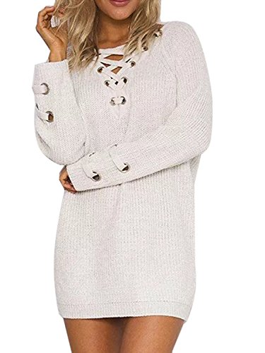 Joeoy Women's White Lace Up Front V Neck Long Sleeve Knit Sweater Dress Top-M