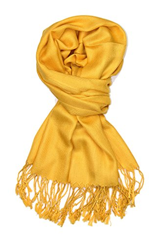 Achillea Large Soft Silky Pashmina Shawl Wrap Scarf in Solid Colors (Gold)