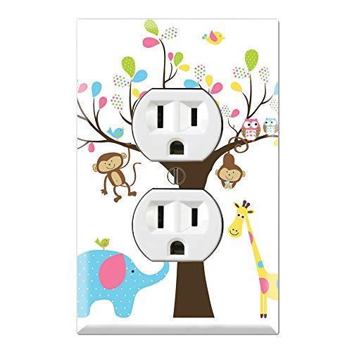 Graphics Wallplates - Monkey Giraffe Elephant Owl Tree - Duplex Outlet Wall Plate Cover