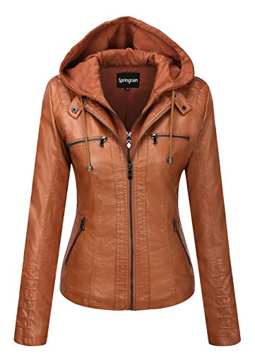 Springrain Women's Casual Stand Collar Detachable Hood PU Leather Jacket
