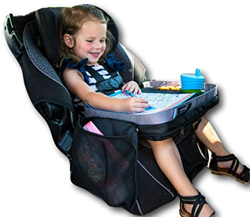 - Kids E-Z Travel Lap Desk Tray by Modfamily-Universal Fit for Car Seat, Stroller & Airplane - Organized Access to Drawing, Snacks, and Activities. Includes Bonus Printable Travel Games - (Black)