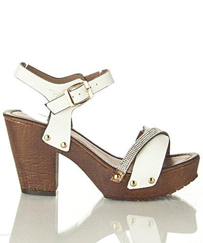Chunky Open Decor Sandal Women's Tone Two Platform Toe Shoes VT02 Sling White Heeled Rhinestone Clog Back Summer Stud d7wRq4