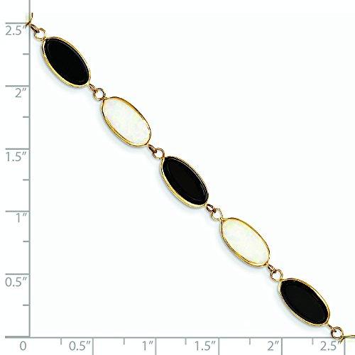 7,5 cm 14 carats opale véritable-Fancy-Onyx-Bracelet-JewelryWeb pince de homard