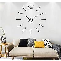 VANGOLD Modern Mute DIY Frameless Grande horloge murale 3D Mirror Sticker Metal Big Watches Décorations de Home Office
