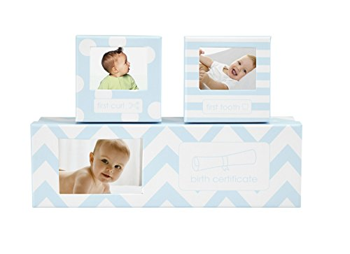 Tiny Ideas Chevron Baby Keepsake Boxes, Blue by Tiny Ideas