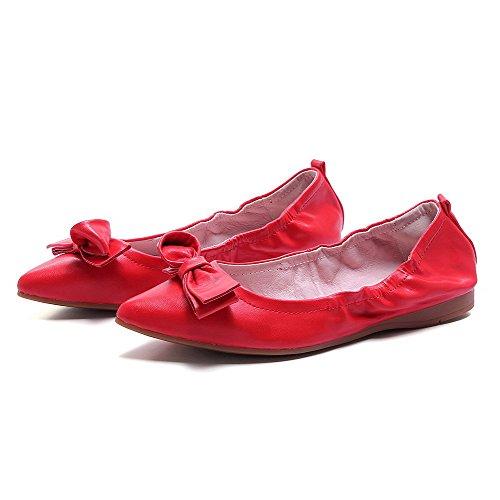 Amoonyfashion Damesschoen Solid Geen Hak Pull Op Spitse Gesloten Teen Flats-schoenen Rood