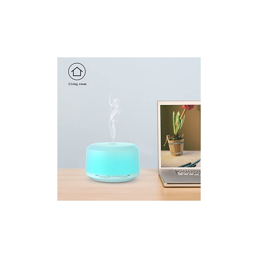 Essential Oil Diffuser 450ml, BAXIA TECHNOLOGY Aromatherapy Diffuser Ultrasonic Cool Mist Humidifier with 4 Timer Setting, 8 LED Color Changing Light and Waterless Auto Shut off