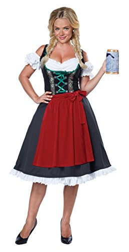 International Costumes - California Costumes Women's Oktoberfest Fraulein Costume, Black/Red, Small