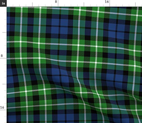 Spoonflower Graham Fabric - Montrose Tartan Plaid Scottish Maclaggan Print on Fabric by The Yard - Basketweave Cotton Canvas for Upholstery Home Decor Bottomweight Apparel