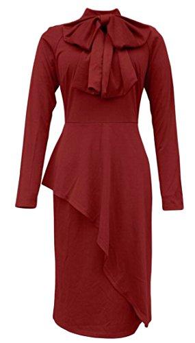 Alion Femmes Robe D'affaires Embelli Moulante Combi Noeud Papillon Robe De Vin Rouge