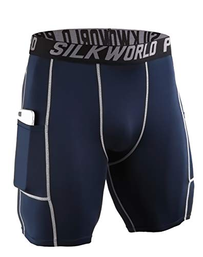 SILKWORLD Men's Compression Shorts Pockets Sports Running Tight (Small, 0788-Pockets: Dark Navy -