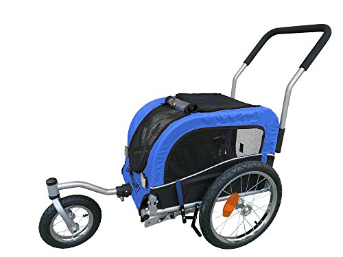 Small Pet Dog Stroller and Bike Bicycle Trailer (Blue)