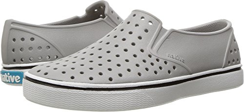 Native Unisex-kids Miles Water Proof Shoes, Pigeon Grey/Shell White, 4 Medium US Big Kid -