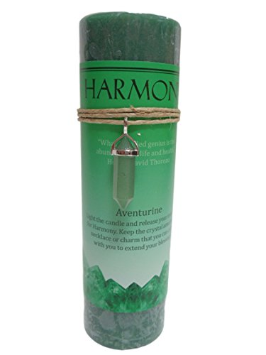 (Aventurine Crystal Energy Pillar Candle and Pendant Stone for Harmony )