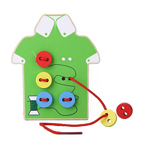 Kids Fine Motor Skills Toy --- Wooden Sewing on Buttons, Lacing Beads Board Toys, Sewing Play Kit Educational Toy for Toddlers and (Babies Lacing Cards)
