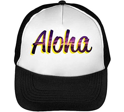 Aloha Miami Beach Gorras Hombre Snapback Beisbol Negro Blanco
