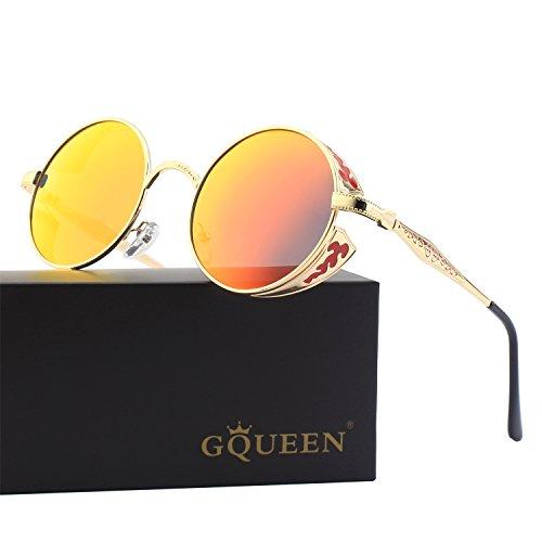 GQUEEN Retro Round Steampunk Polarized Sunglasses - For Quavo Glasses Sale