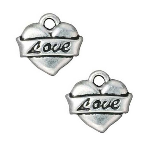 Fine Silver Plated Pewter Love Heart Tattoo Charm 15mm