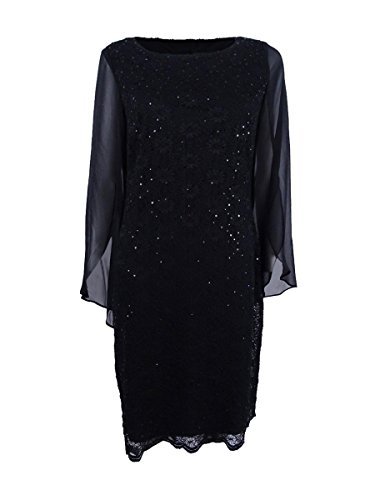 Apparel Angel Cocktail Sleeves Womens Sheath Connected Dress Black dnx6E4wA