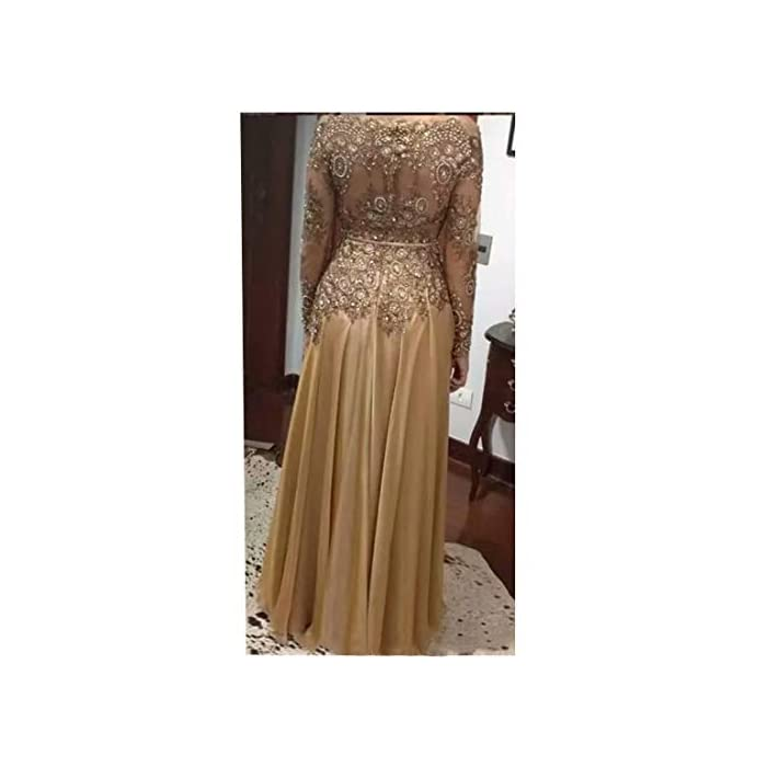 Chady Elegant Gold Lace Bead Mother of The Bride Dresses Plus Size Chiffon  Zipper Back Mother\'s Dresses Formal