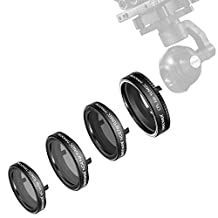 Neewer 4 Pieces Filter Kit for Yuneec Typhoon Q500 4K CGO3 Camera, Typhoon H Camera, Includes: ND4, ND8, UV and CPL Filter, Made of Optical Glass and Aluminum Alloy Frame