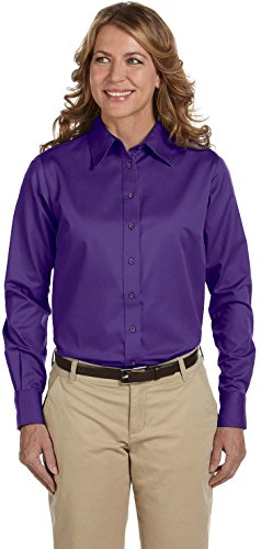 Button Down Stain Resistant Dress Shirt (Harriton Women's Long Sleeve Twill Button Down Dress Shirt with Stain-Release)