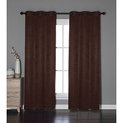 Bella Luna Calypso Embossed Textured Room Darkening 76 x 84 in. Grommet Curtain Panel Pair, Chocolate
