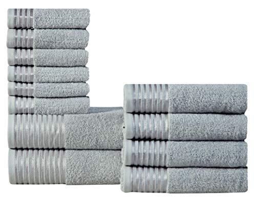 600 GSM Ultra Soft 100% Combed Cotton 12-piece Towel Set (Platinum Grey): 2 Bath towels, 4 Hand towels, 6 Washcloths, Long-staple Cotton, Spa Hotel Quality, Super Absorbent, Machine Washable