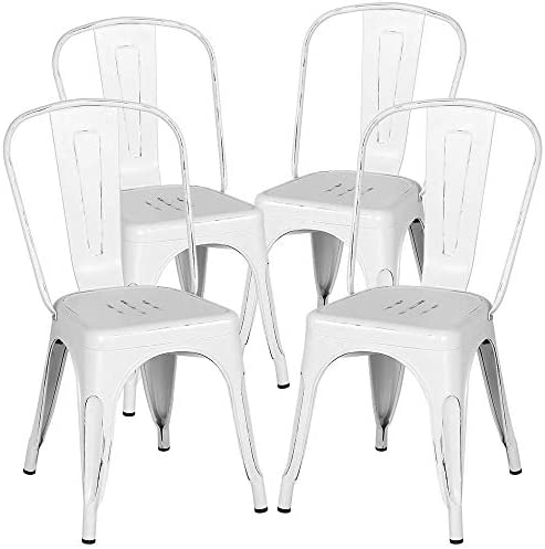Yaheetech Metal Dining Chairs Indoor Outdoor Stackable Side Chairs Coffee Chair Classic Chic Industrial Vintage Bistro Caf Trattoria Kitchen Distressed White, Set of 4 Renewed