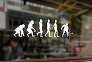 25x7cm White Sticker Vinyl Decal Art Gamer Silhouette NHL Evolution Ice Hockey Player Sport Boy for Car Auto B