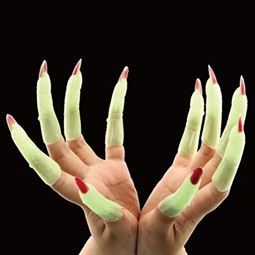 10Pcs Glow in the Dark Zombie Witch Fake Finger Nails Set Halloween Masquerade Finger Nails Trick Props (Fluorescent + Red) -