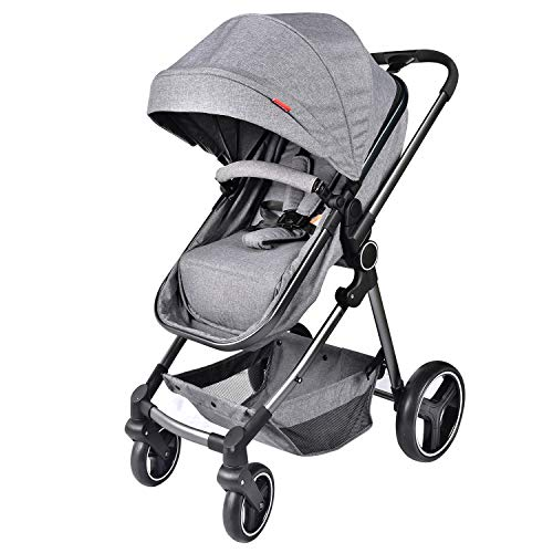 Grepatio Portable Baby Stroller – Lightweight Newborn Baby Pushchair, Convertible Bassinet Reclining Stroller with Shock Absorbers, Quick EZ One Hand Fold in Seconds – Gray