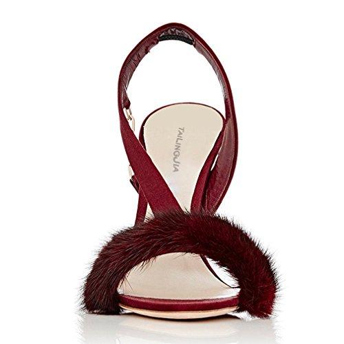 a eu41 Aguja Oficina Tacón Alto Satén red Corte La Zapatos Clover Eu40 Gran De Sexy Abiertos Felpa Tamaño Sandalias Lucky eu46 g6RyFqw5y
