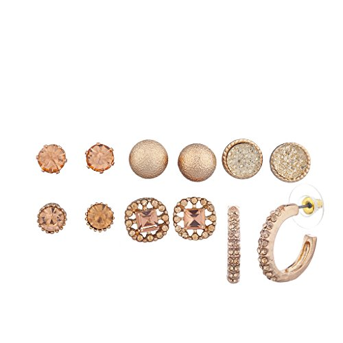 Lux Accessories Rose Gold Stud and Hoop Multi Earring Pack Set 6Pcs (Set Earring Half Hoop)
