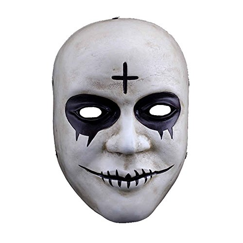 Charmgle Resin Smile Face The Purge Mask Anarchy Movie prop Halloween masquerade Cosplay (Cross) -