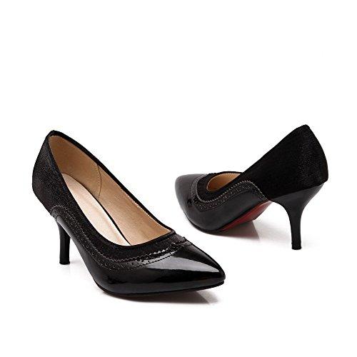 AgooLar Stylet Souple Pointu Matière Femme Chaussures Légeres Noir Couleurs Tire Mélangées Sg4qS1nwR