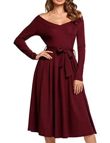 90 S Dress (ACEVOG Women's Long Sleeve V-neck A-line and Flare Midi Long Dress with Belt Wine Red, S)