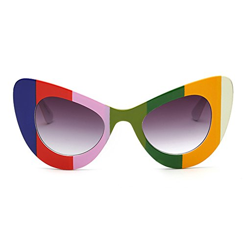 Iris Eyewear Gafas Cateye Inlefen Womens Cat de Eye Gris Round Arco sol Oversized Retro Rim Degradado Bold w6p6vqI