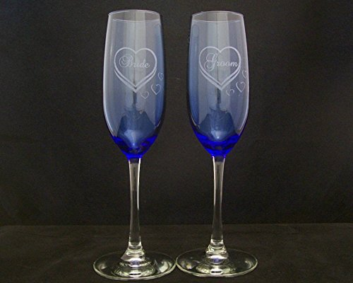 Amazon Bride And Groom Hearts Cobalt Blue Champagne Flutes