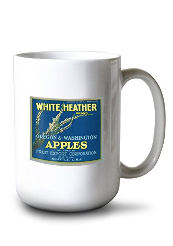 - Lantern Press White Heather Apple Label (15oz White Ceramic Mug)